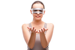 The techno girl holding gands isolated on white Royalty Free Stock Photo