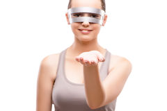 The techno girl holding gands isolated on white Stock Photo