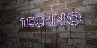 TECHNO - Glühende Leuchtreklame auf Steinmetzarbeitwand - 3D übertrug freie Illustration der Abgabe auf Lager vektor abbildung