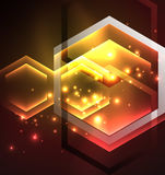 Techno glowing glass hexagons vector background Royalty Free Stock Photo