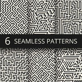 Techno graphic line seamless textures. Modern stripes fashion design backgrounds Royalty Free Stock Photo