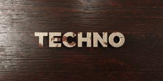 Techno - grungy trärubrik på lönn - 3D framförd fri materielbild för royalty Royaltyfri Foto