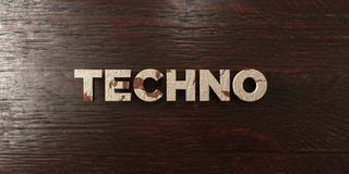 Techno - grungy wooden headline on Maple  - 3D rendered royalty free stock image Royalty Free Stock Photo
