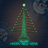 Techno Happy New Year Christmas Tree Stock Photos