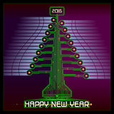 Techno Happy New Year Christmas Tree Green Stock Photo