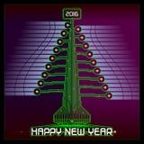 Techno Happy New Year Christmas Tree Green Stock Photo