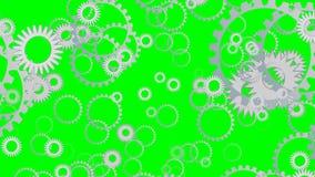 Techno-Hintergrund mit Fliegen übersetzt, die Zahnräder, die auf grünen Schirm sich drehen lizenzfreie abbildung