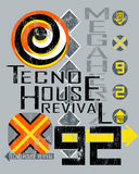 Techno House music poster Stock Photos