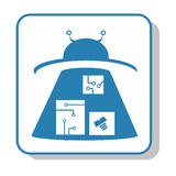 Techno-Ikone - Lagerung lagerhaus UFO Lizenzfreies Stockfoto