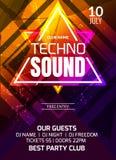 Techno låter musikpartimallen, reklambladet för danspartiet, broschyr Festa banret eller affischen för klubba det idérika för dis royaltyfri illustrationer