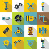Techno mechanisms kit icons set, flat style Stock Photography