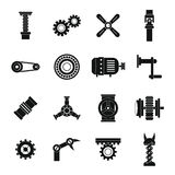 Techno mechanisms kit icons set, simple style Royalty Free Stock Photos