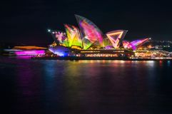 Techno meets the wildlife in the Metamathemagical Light Show. Sydney, Australia -May 25, 2018: Vivid Sydney Festival in Sydney Harbour, Australia. Spectacular Stock Image
