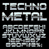 Techno metal style letters and symbols . Stock Image