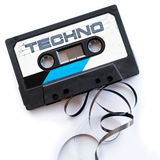 Techno music dance musical genres audio tape label.  Stock Photography