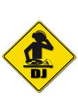 Techno Music DJ Yellow Road Sign. The road sign shows the dj stock illustration