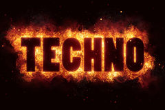 Techno music party text on fire flames explosion burning Royalty Free Stock Photos
