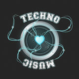 Techno music poster blue Royalty Free Stock Photography
