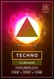 Techno music poster. Electronic club deep music. Musical event disco trance sound. Night party invitation. DJ flyer poster.  Royalty Free Stock Images