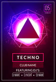 Techno music poster. Electronic club deep music. Musical event disco trance sound. Night party invitation. DJ flyer poster.  Royalty Free Stock Photo