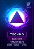Techno music poster. Electronic club deep music. Musical event disco trance sound. Night party invitation. DJ flyer poster.  stock illustration