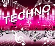 Techno musik föreställer det solida spåret och ljudsignal royaltyfri illustrationer