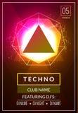 Techno musikaffisch Djup musik för elektronisk klubba Musikaliskt ljud för händelsediskotrans Nattpartiinbjudan discjockeyreklamb stock illustrationer