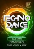 Techno musikaffisch Djup musik för elektronisk klubba Musikaliskt ljud för händelsediskotrans Nattpartiinbjudan discjockeyreklamb vektor illustrationer