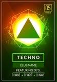 Techno musikaffisch Djup musik för elektronisk klubba Musikaliskt ljud för händelsediskotrans Nattpartiinbjudan discjockeyreklamb royaltyfri illustrationer
