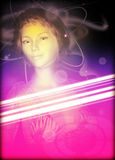 Techno partyjnej dziewczyny stylowy plakat Obraz Royalty Free