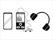 The techno phone and MP4. The phone and MP 4 vector for cartoon nice for logo or icon Stock Image