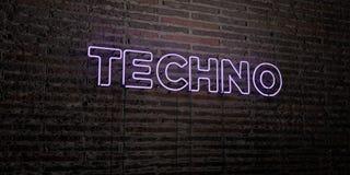 TECHNO - realistiskt neontecken på bakgrund för tegelstenvägg - 3D framförd fri materielbild för royalty Royaltyfri Fotografi