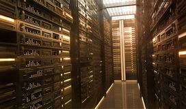 Techno Room. Hardware in the server room Royalty Free Stock Photography