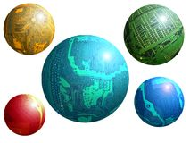 Techno still life. With 5 circuit boards as a colored spheres on white background Vector Illustration