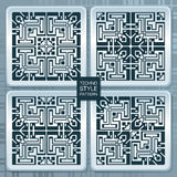 Techno style background. Set of seamless vector patterns in techno style Stock Photo