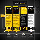 Techno timeline with 4 banners. Royalty Free Stock Images