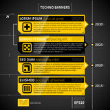 Techno timeline with 4 horizontal banners. Stock Photo