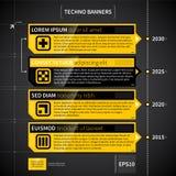 Techno timeline med 4 horisontalbaner Arkivfoto