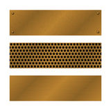Techno vector banners. Brushed Brass, copper latticed surface template. Abstract industrial illustration for web. Engineering, construction. Perforated Metal Royalty Free Stock Photo