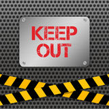 Techno vector illustration. Metallic plate with text `Keep Out` on a perforated metal background. Warning tapes. Royalty Free Stock Photography