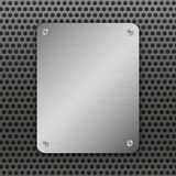 Techno vector illustration. Perforated Metal Background with plate and rivets. Metallic grunge texture. Brushed Steel Stock Images