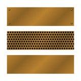 Techno vectorbanners Geborsteld Messing, koper van tralies voorzien oppervlaktemalplaatje Abstracte industriële illustratie voor  vector illustratie