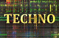 Techno word in gold with electronic background stock photo