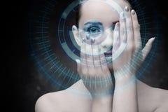 Technokvinnan i futuristiskt begrepp Arkivbild