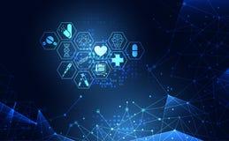 Technolo numérique de santé des sciences médicales d'icône abstraite de soins de santé illustration de vecteur