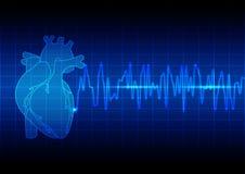 导航例证心脏在蓝色背景technolo的节奏ekg 免版税库存图片