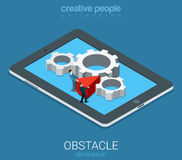 Technolofy business obstacle elimination flat 3d vector isometric Royalty Free Stock Photography