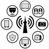 Technologia bezprzewodowa wektoru i ikony ilustracja Obraz Royalty Free