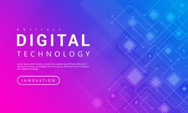 Technologia cyfrowa sztandaru menchii tła błękitny pojęcie z technologii linii lekkimi skutkami, abstrakcjonistyczna technika royalty ilustracja