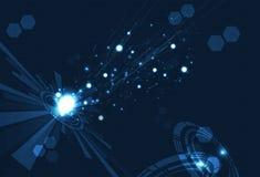 Technologia, cyfrowy obwód, siatka i pierścionek futurystyczni dane dalej, ilustracja wektor